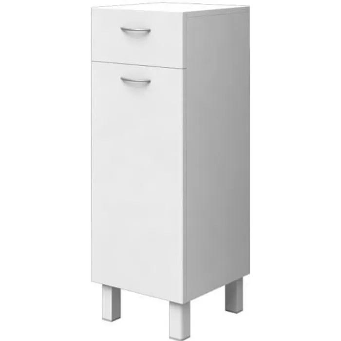 essentiel meuble de rangement 1 porte 1 tiroir blanc l 30 cm