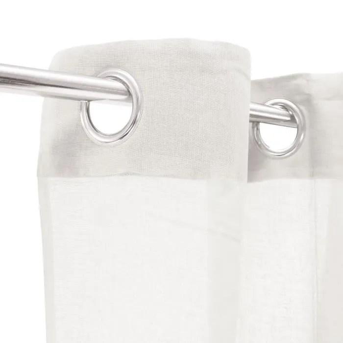 voilage 100 coton blanc 105x250 cm
