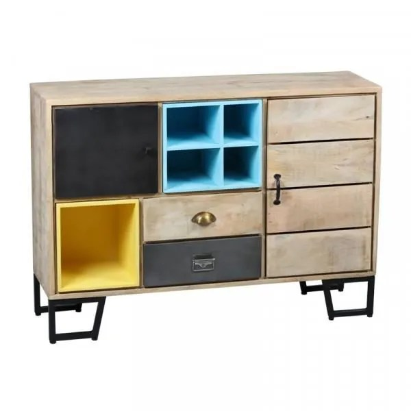 meuble d entree 2 portes bois metal plypus bois clair bois metal l 120 x l 35 x h 80 cm meuble d entree