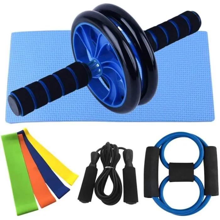 ab roller avec tapis pour genoux roue abdominale 3 metres de corde a sauter cercle de resistance ensemble de 8 pieces fitness