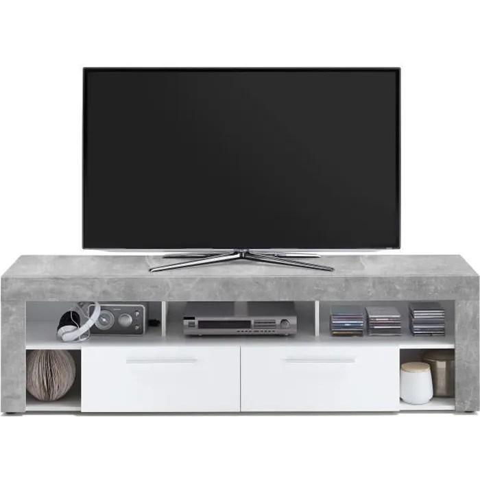 vibio meuble tv contemporain melamine decor gris e