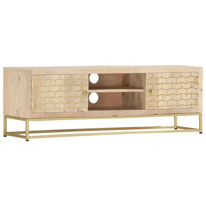meuble tv banc tv style moderne dore 120 x 30