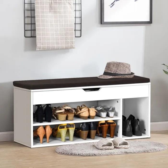 meuble a chaussures banc de rangement meuble de banc d entree avec coussin rembourre en bois avec siege 104x30x48 cm blanc