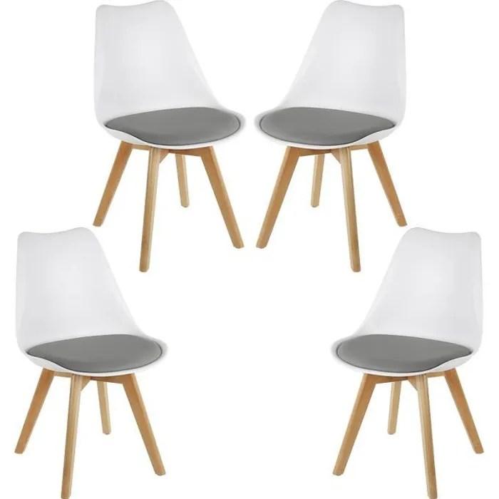 luxs lot de 4 chaises scandinaves blanc