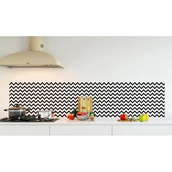 credence de cuisine adhesive en verre de synthese motif geometrique zigzag noir l 220 x h 50 cm