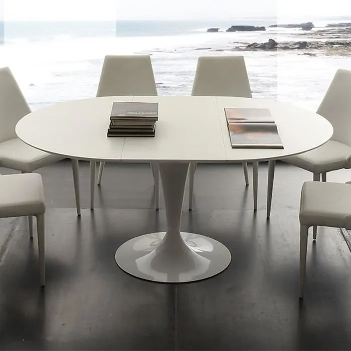 table a manger ronde blanche avec rallonge cesario