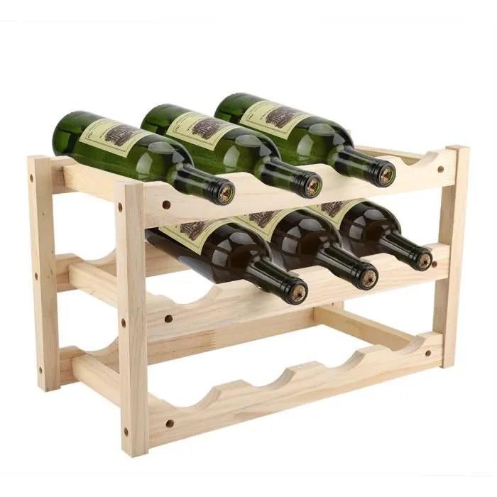 bois avec porte bouteilles de vin rouge