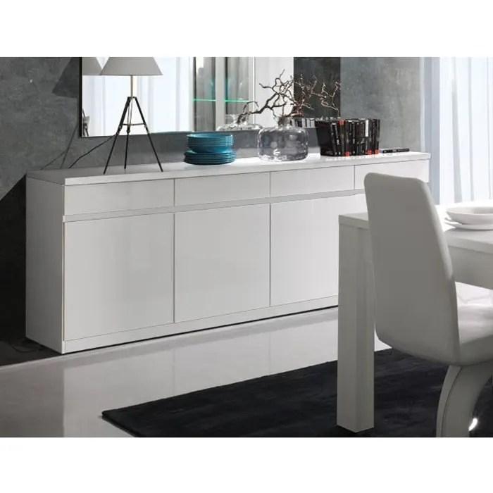 meuble bas salon blanc laque