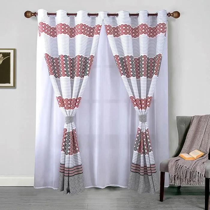 voilage et paire de rideaux avec embrases rouge