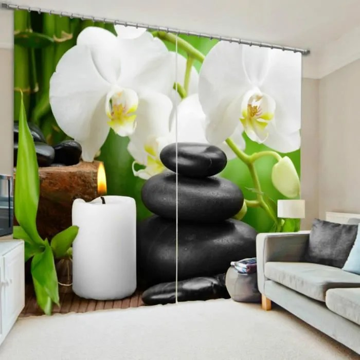 rideaux motif zen bambous galets bougie