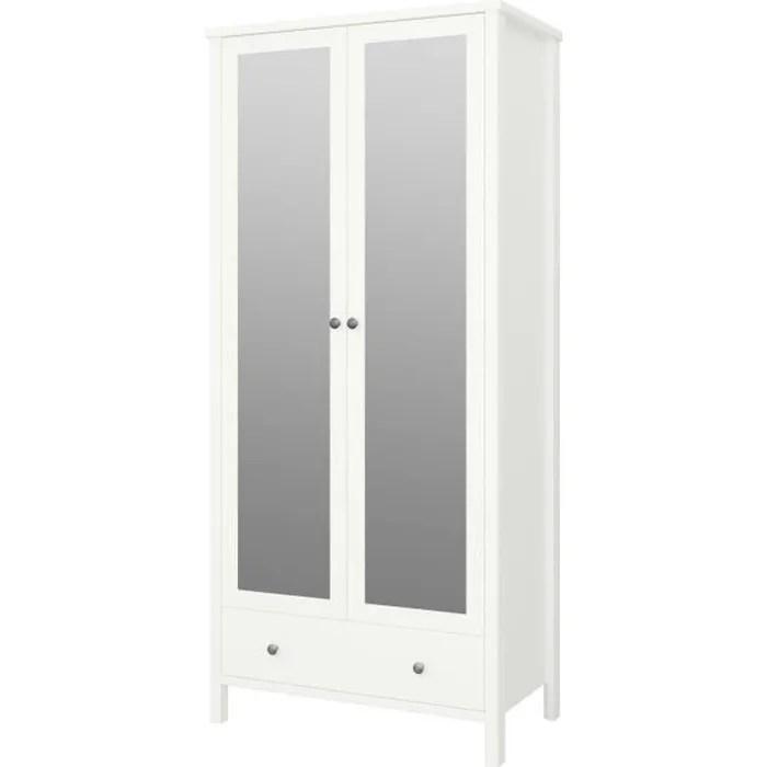 tromso armoire 2 portes miroir 1 tiroir laque blanc mdf l 89 x p 49 5 x h 195 cm