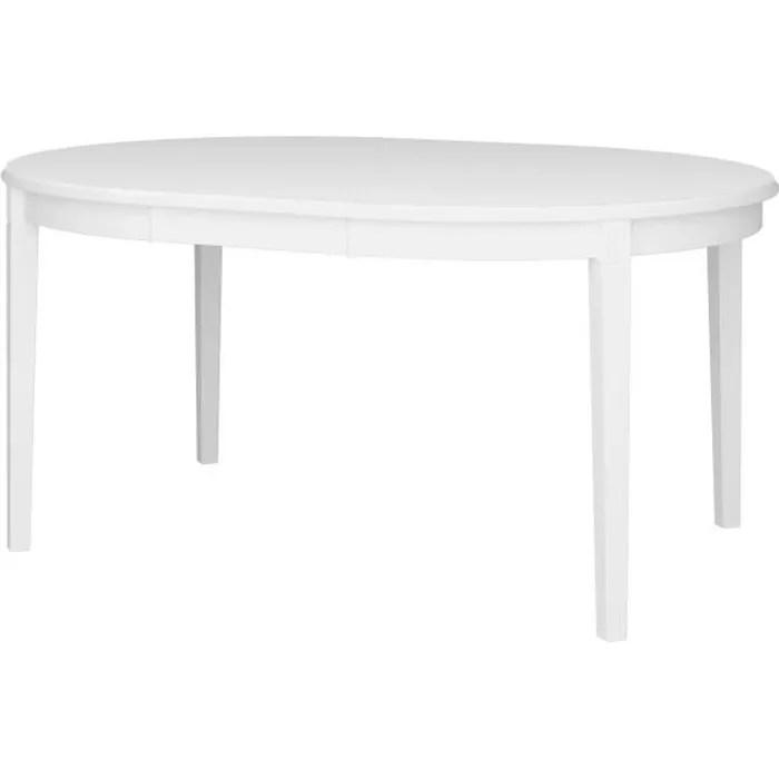 venice table ronde avec 1 allonge laque blanc l 120 160 x p 120 x h 75 7 cm