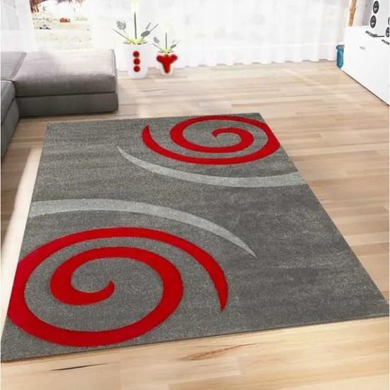 tapis salon motif spirales rouge