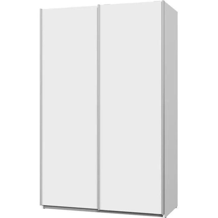 ulos armoire 2 portes coulissantes blanc mat l 120 x p 61 x h 191 cm