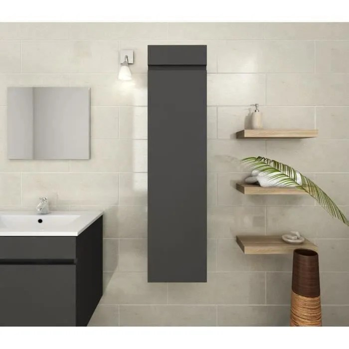 luna colonne de salle de bain l 25 cm gris mat