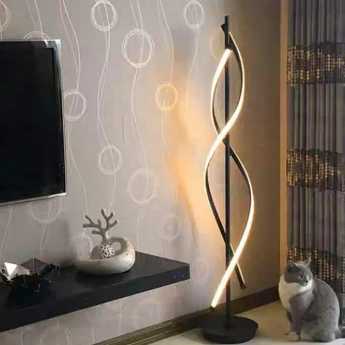 lampadaire led dimmable spirale en metal creatif lampe de salon chambre lumiere decoration interieur design moderne noir