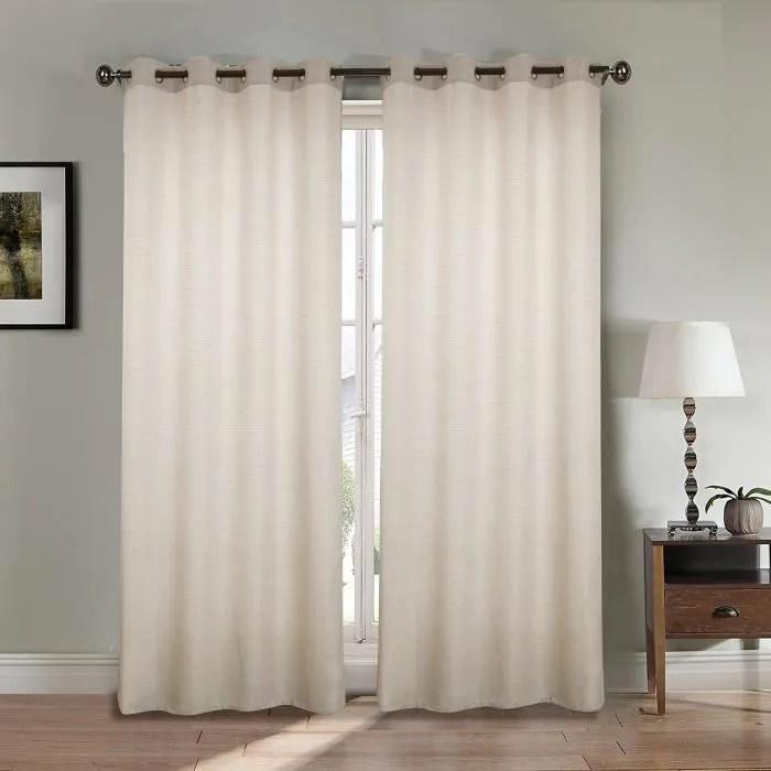 paire de double rideaux effet lin beige 140