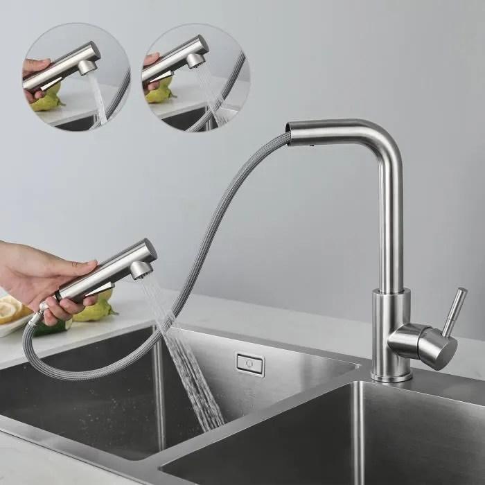 cecipa noir robinet de cuisine avec douchette extractible mitigeur cuisine en acier inoxydable brosse durable robinetterie cuisine