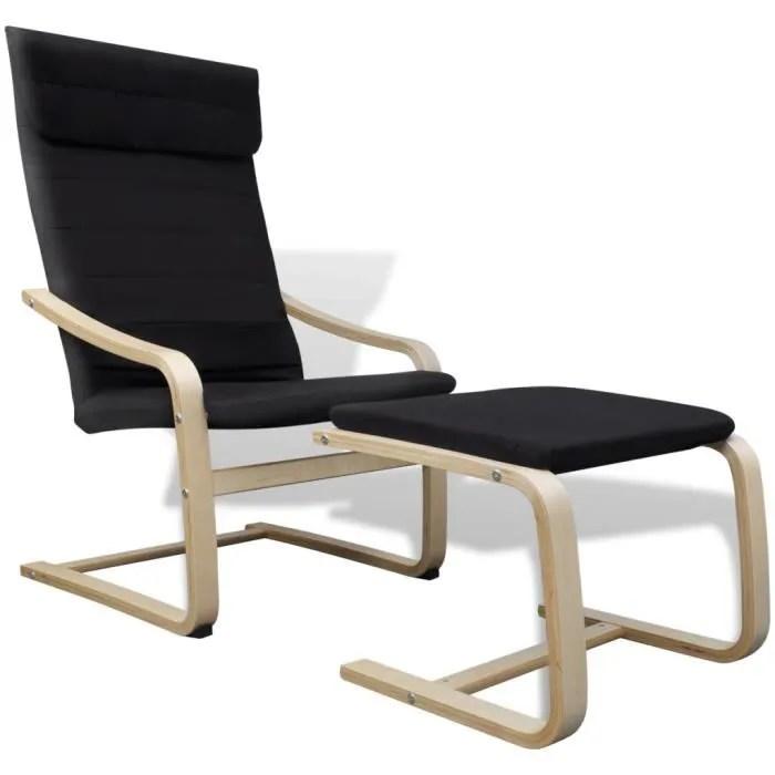 fauteuil chaise longue en bois courbe couleur noir avec repose pieds confort pour dormir reposer jardin salon