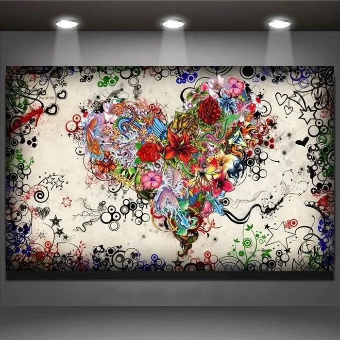 home decor peinture a l huile coeur