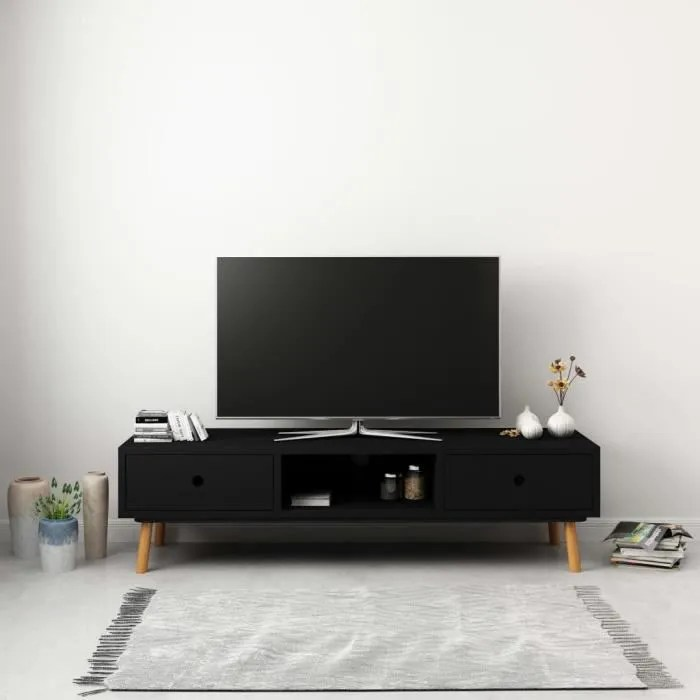 meuble tv contemporain banc tv noir 120 x 35 x 35 cm pin massif