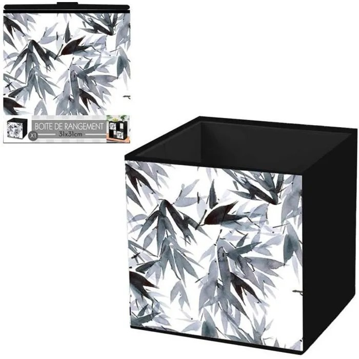 cube de rangement bambou gris blanc 31x31 cm q4501