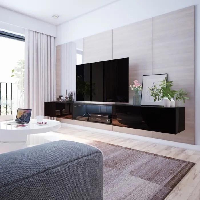 meuble tv suspendu meuble de salon larka 3x100 cm noir mat noir brillant avec led style moderne