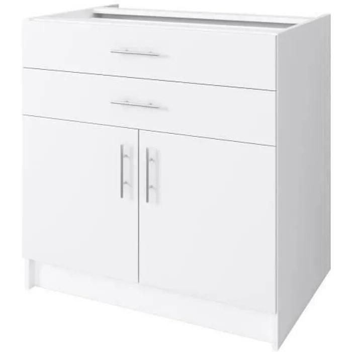 obi meuble bas de cuisine l 80 cm blanc mat