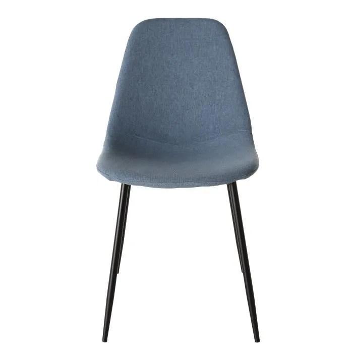 lot de 2 chaises tissu bleu pieds metal noir