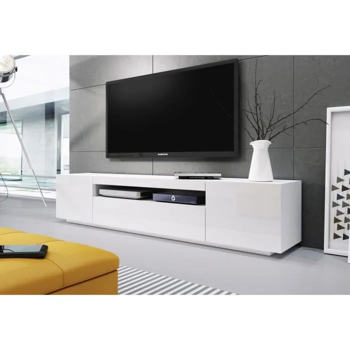 banc tv blanc laque 2m00
