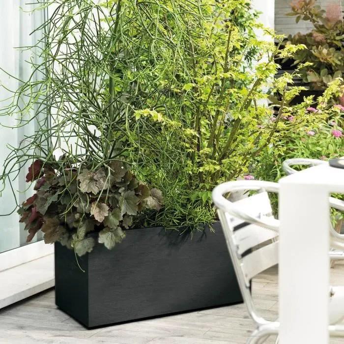 deroma jardiniere a reserve d eau muret gravity 79 x 39 5 x h 39 cm 72 6 l carbone