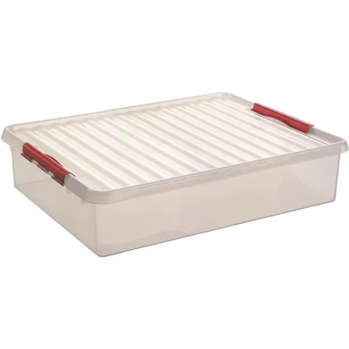 boite de rangement sous lit en plastique transparent h 180x l 800x l 500mm couleur transparent fermeture rouge sunware qline box 6