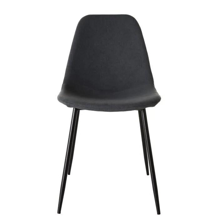 lot de 2 chaises tissu gris anthracite pieds metal noir