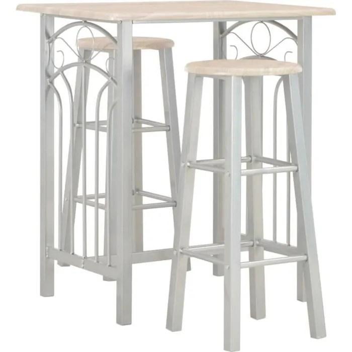ensemble table bar de 2 a 4 personnes style contemporain 2 tabourets de bar mange debout bois et acier