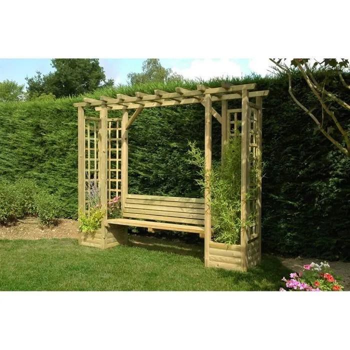 pergola bora avec banc cdiscount jardin