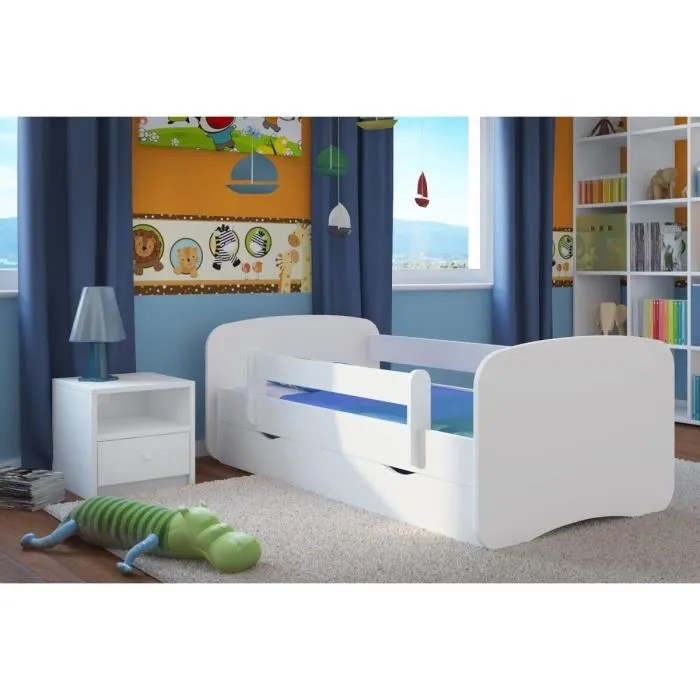 lit enfant 80 cm x 180 cm avec barriere de securite sommier tiroirs matelas offert blanc