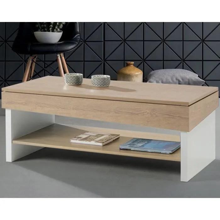 table basse relevable chene blond bois blanc berliose l 110 x l 60 x h 44