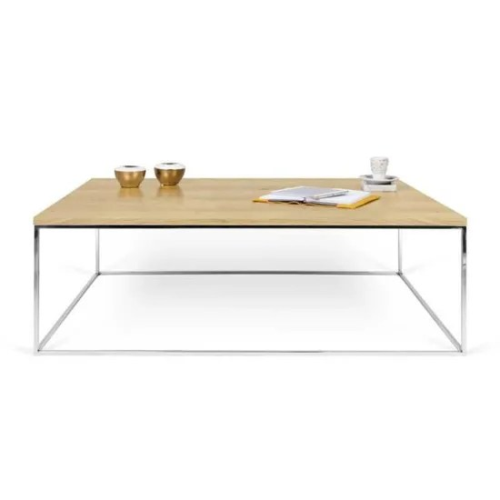 table basse rectangulaire metal chrome