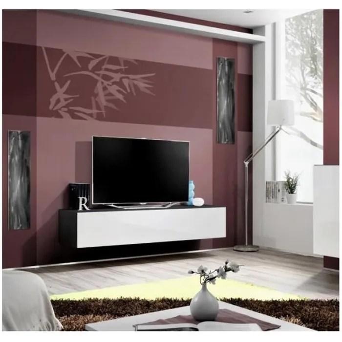 meuble tv fly design coloris noir et blanc brilla