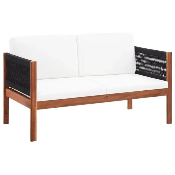 canape de jardin lit de jardin mobilier d exterieur salon de jardina 2 places bois d acacia massif