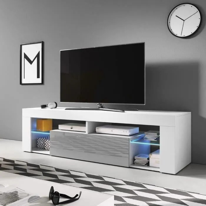 meuble tv banc tv bianko 140 cm blanc mat