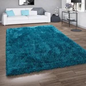 tapis shaggy bleu turquoise