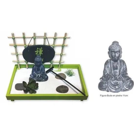 dakota jardin zen avec bouddha sable pierres fleur de lotus herbe et rateau