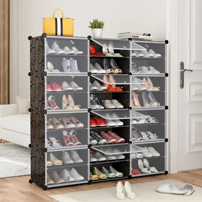 range chaussures portatif noir portes transparentes tablette modulaire gagner de la place porte chaussures bottes pantoufles