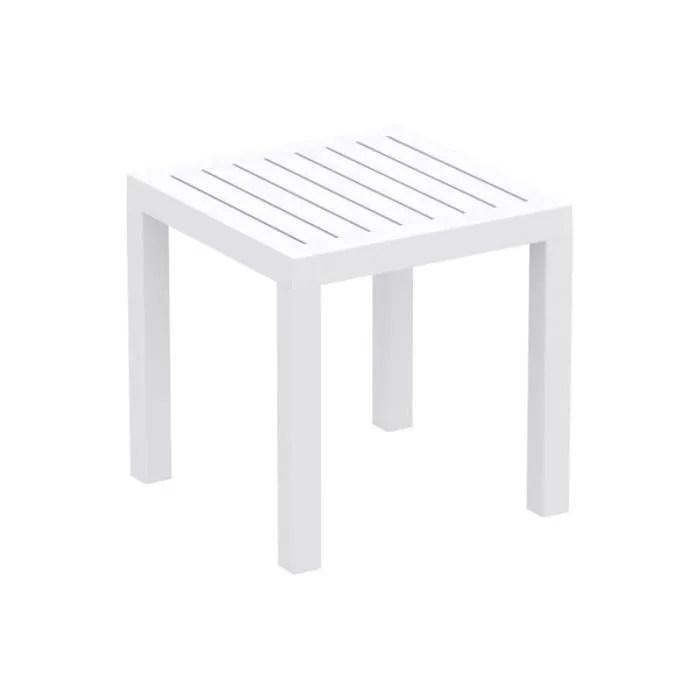 petite table de jardin en plastique blanc resistante aux intemperies 45x45x45 cm mdj10199