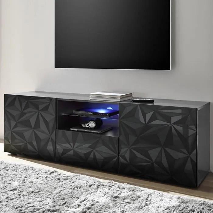 meuble tv long 180 cm gris laque design antonio 3