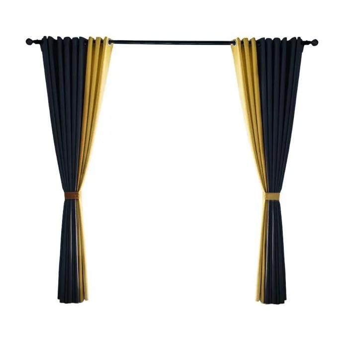 2pcs rideaux occultants en chanvre et coton occultant pour chambre a coucher salon tissu polyester bambou bleu jaune 1x2 5m