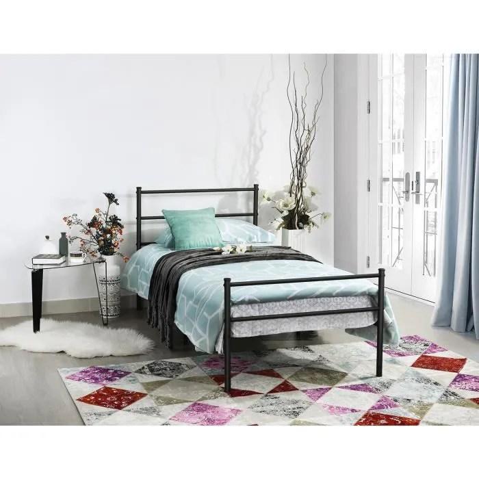 dorafair lit adulte classique en metal design simple cadre de lit sommier integre 90x190cm noir