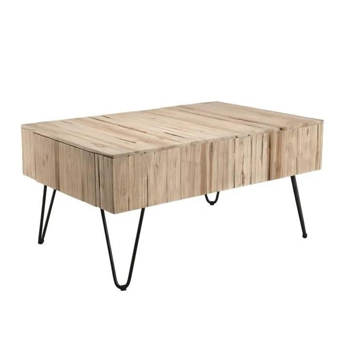 table basse ethnique en bois teck massif naturel