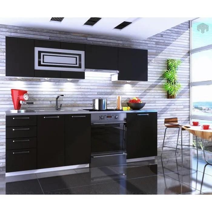 cuisine noir mat giovanna 7 elements 2m40 dusine
